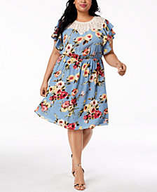 Monteau Trendy Plus Size Lace-Trim A-Line Dress