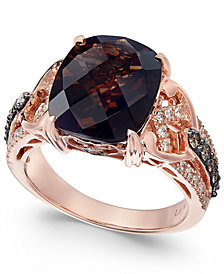 Le Vian® Chocolatier with Chocolate Quartz® (4-1/2 ct. t.w.) and Diamond (1/2 ct. t.w.) Ring in 14k Rose Gold