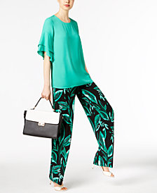Alfani Ruffled Top & Palazzo Pants, Created for Macy's