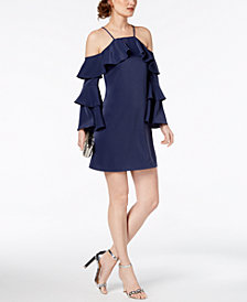 Laundry by Shelli Segal Tiered Cold-Shoulder Shift Dress
