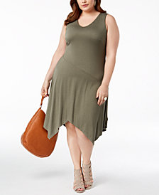 I.N.C. Plus Size Handkerchief-Hem Dress, Created for Macy's