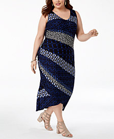 I.N.C. Plus Size Mixed-Print Ruched Dress, Created for Macy's
