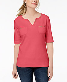 Karen Scott Cotton Spit-Neck Studded Top, Created for Macy's
