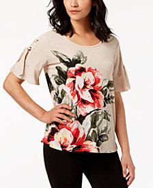 JM Collection Printed Lace-Up-Sleeve Top, Created for Macy's