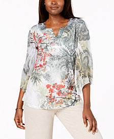 JM Collection Chiffon-Sleeve Embellished Top, Created for Macy's