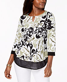 JM Collection Printed Mesh-Hem Top, Created for Macy's