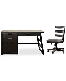 Ridgeway Home Office 2-Pc. Set (Single Pedestal Desk & Wood Back Chair)