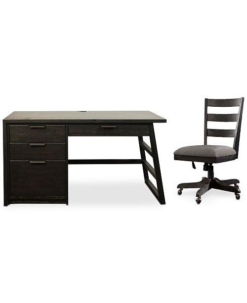 Furniture Ridgeway Home Office Furniture, 2-Pc. Set (Single Pedestal Desk & Wood Back Chair)