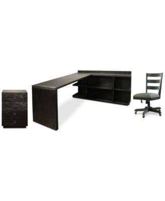 Ridgeway Home Office Furniture, 4-Pc. Set  (Return Desk, Peninsula USB Outlet Bookcase, Wood Back Chair, & Mobile Cabinet)