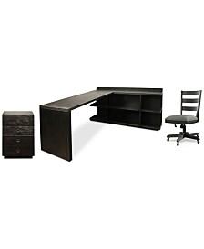 Ridgeway Home Office Furniture, 4-Pc. Set  (Return Desk, Peninsula USB Outlet Bookcase, Wood Back Chair, & Mobile Cabinet)