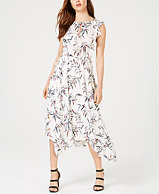 Rachel Zoe Pippa Printed Asymmetrical Midi Dress