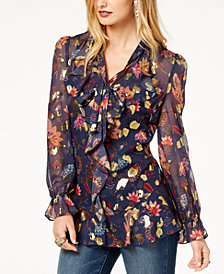 Rachel Zoe Ruffled Metallic-Print Blouse