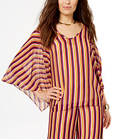 Trina Turk Striped Wide-Sleeve Top