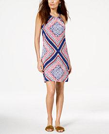 Trina Turk Rancho Scarf-Print Halter Dress