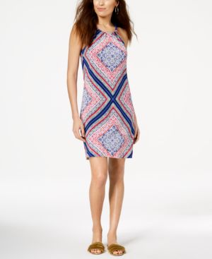 Trina Turk Rancho Scarf-Print Halter Dress 6397820
