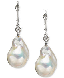Cultured Baroque Freshwater Pearl (13mm) & Diamond Accent Drop Earrings in 14k White Gold