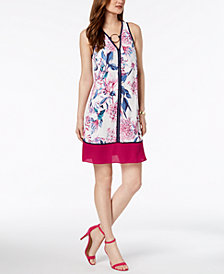 Ivanka Trump Floral Printed O-Ring Shift Dress