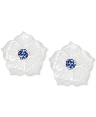 Mother-of-Pearl & Tanzanite (1/2 ct. t.w.) Flower Statement Stud Earrings in Sterling Silver