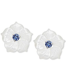 Mother-of-Pearl & Tanzanite (1/2 ct. t.w.) Flower Statement Stud Earrings in Sterling Silver