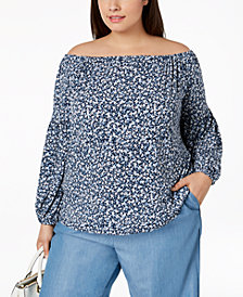 MICHAEL Michael Kors Plus Size Printed Off-The-Shoulder Peasant Top