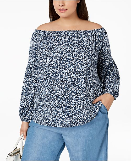 0070adb394b96 MICHAEL Michael Kors. Plus Size Printed Off-The-Shoulder Peasant Top. Be  the first to Write a Review. main image  main image