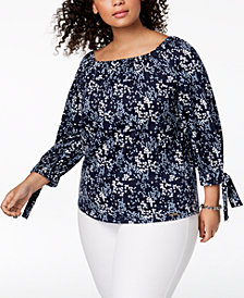 MICHAEL Michael Kors Plus Size Scattered Blooms Printed Tie-Sleeve Top