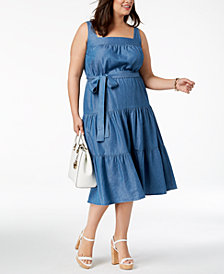 MICHAEL Michael Kors Plus Size Tiered Midi Sundress
