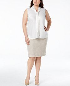 Kasper Plus Size Tie-Neck Shell & Fringed Tweed Skirt