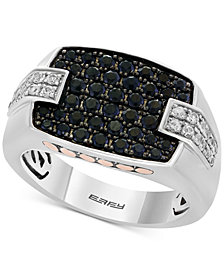 EFFY® Men's Black Sapphire (1-1/3 ct. t.w.) & White Sapphire (1/2 ct. t.w.) Ring in Sterling Silver, 14k Gold & Black Rhodium-Plate