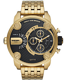 Diesel Men's Chronograph Little Daddy Gold-Tone Stainless Steel Bracelet Watch 52mm