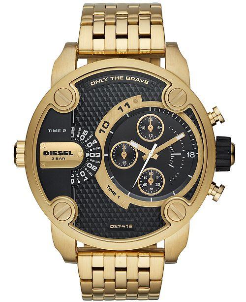 Diesel Men's Chronograph Little Daddy Gold-Tone Stainless Steel Bracelet Watch 52mm