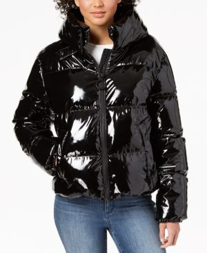 KENDALL + KYLIE Cropped Shiny Puffer Coat in Black