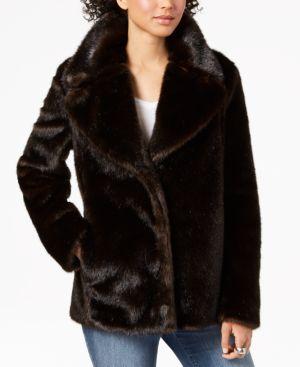 KENDALL + KYLIE Faux-Fur Peacoat in Brown