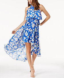 I.N.C. Petite Printed High-Low Halter Maxi Dress, Created for Macy's