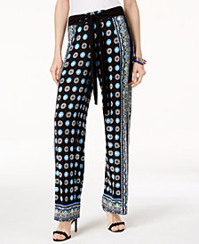 I.N.C. Petite Printed Pull-On Pants, Created for Macy's