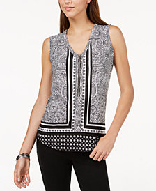 I.N.C. Petite Zip-Front Printed Tank Top, Created for Macy's