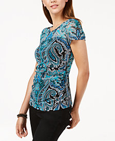 I.N.C. Printed Mesh Ruched Top, Created for Macy's