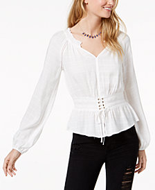 American Rag Juniors' Corset-Front Crochet-Trimmed Blouse, Created for Macy's