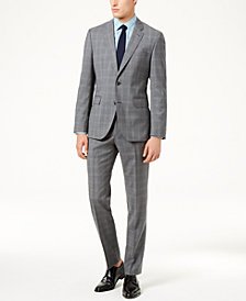 Hugo Boss Men's Slim-Fit Gray/Blue Glen Plaid Suit