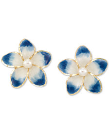 Cultured Freshwater Pearl (3mm) & Ceramic Flower Stud Earrings in 14k Gold