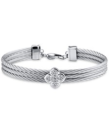 Le Fleur Silver Bangle with White Topaz and Stainless Steel Cable