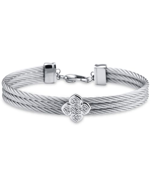 CHARRIOL Le Fleur Silver Bangle with White Topaz and Stainless Steel Cable