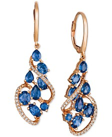 Le Vian® Blueberry Sapphire™  (3-1/4 ct. t.w.) & Diamond (1/3 ct. t.w.) Drop Earrings in 14k Rose Gold