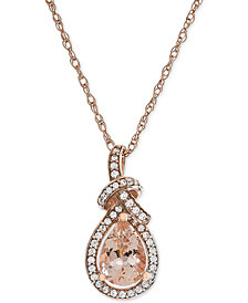 "Morganite (9/10 ct. t.w.) & Diamond (1/6 ct. t.w.) 18"" Pendant Necklace in 14k Rose Gold"