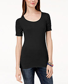 I.N.C. Ruched-Sleeve T-Shirt, Created for Macy's