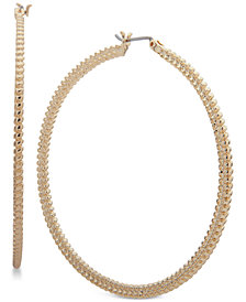 Nine West Large Textured Hoop Earrings