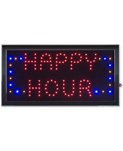 Trademark Global Happy Hour Lighted Neon Electric Display Happy Hour Sign with Animation & Energy Efficient LED