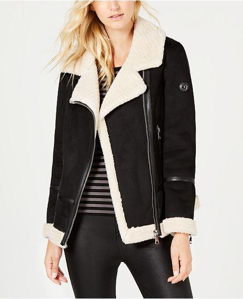 4c8b66f518 Calvin Klein Faux-Shearling Moto Jacket & Reviews - Coats - Women ...