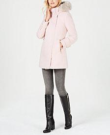 Calvin Klein Faux-Fur-Trim Asymmetrical Coat