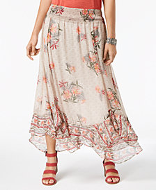 Style & Co Floral-Print Flutter-Hem Skirt, Created for Macy's